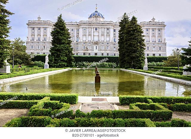 Sabatini Gardens, Royal Palace, Palacio Real, Madrid, Spain, Europe