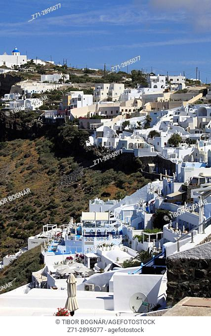 Greece, Cyclades, Santorini, Firostefani, general view, skyline,
