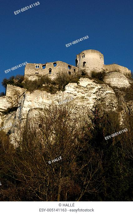 France, the historical castle of Château Gaillard in Normandie