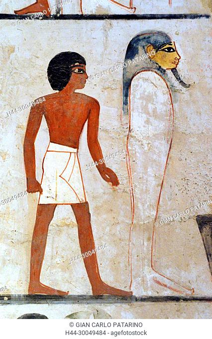 Luxor, Egypt, tomb of Menna or Menena (TT69) in the Nobles Tombs (Sheikh Abd El-Qurna necropolis): detail in ceremony of the opening of the mouth
