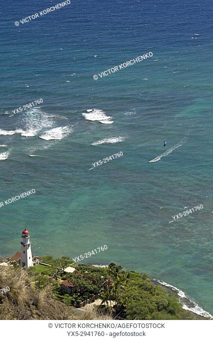 Lighthouse on the ocean shore near Honolulu, Hawaii