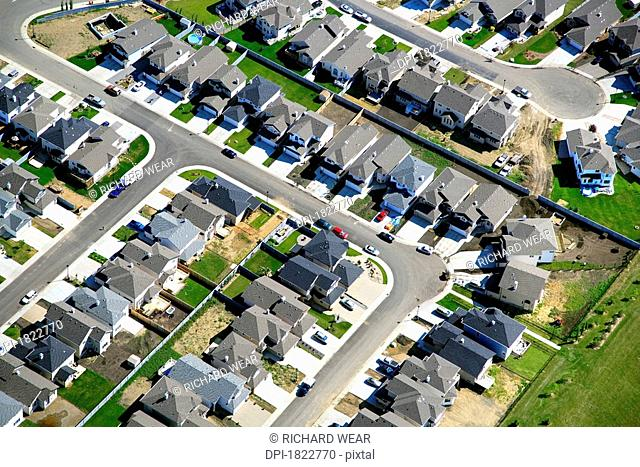 Aerial view of a residential area in Edmonton, Alberta, Canada
