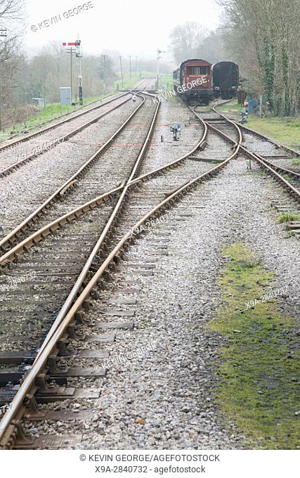 Old Railway Line with Carriages and Junction