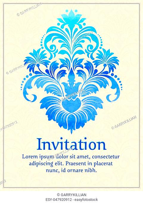 Vector invitation card with watercolor damask element on the light damask background. Arabesque style design. Elegant invitation or gift card