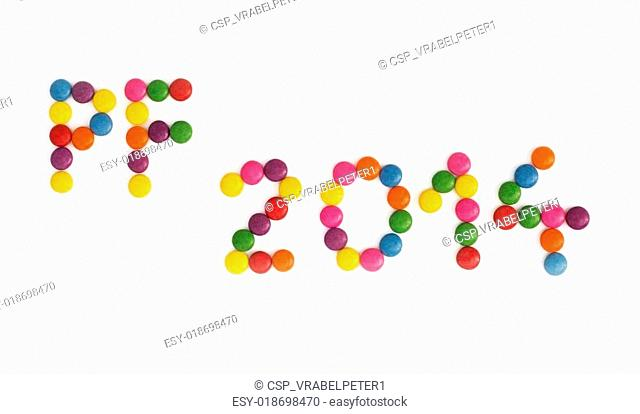 The title PF 2014 written of the colored smarties