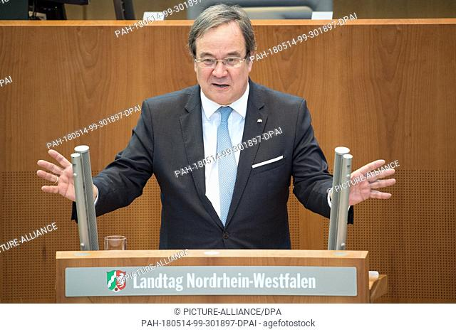 14 May 2018, Germany, Duesseldorf: Armin Laschet (CDU), Premier of the state of North Rhine-Westphalia, speaking in the plenary hall of the Landtag (State...