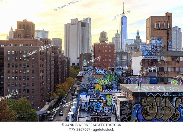 Monroe Street on the Lower East Side from the Manhattan Bridge Overpass near sunset in New York, NY, USA