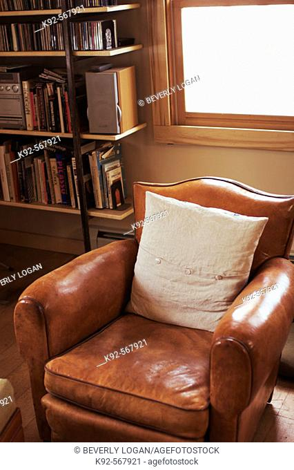 Leather chair in a home in Colorado. USA