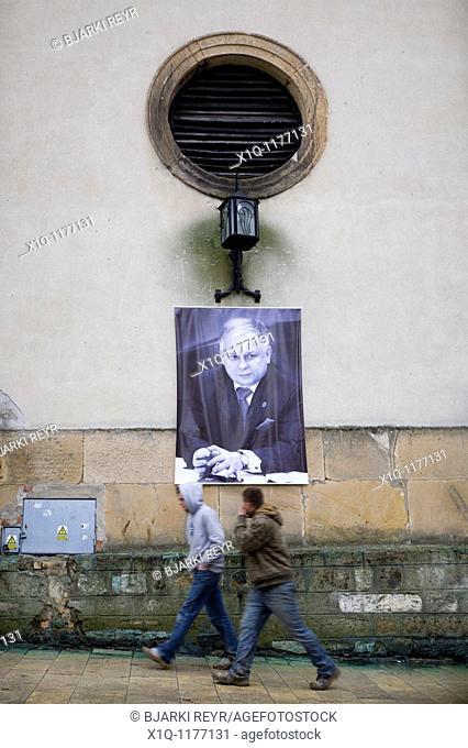 Sandomierz Poland: Poster in memory of president Lech Kaczynski who died in a plane crash