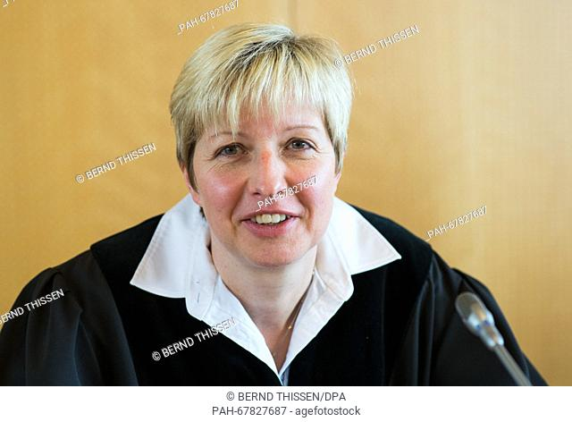 Judge Anke Grudda following the trial of Reinhold Hanning in Detmold, Germany, 28 April 2016. Reinhold Hanning, a 94-year-old World War II SS guard