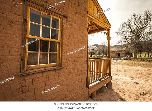 """Alonzo Russell adobe house (featured in the film """"""""Butch Cassidy and the Sundance Kid""""""""), Grafton ghost town, Utah USA"""