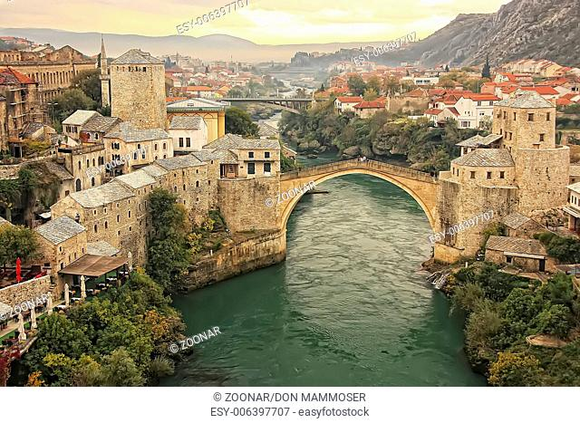 Town of Mostar and Stari Most at sunset, Bosnia an