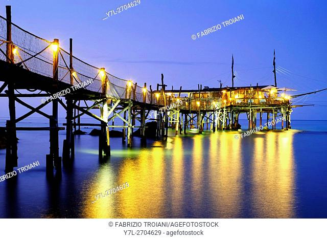 The trabucco Pesce Palombo at night, Fossacesia, Italy