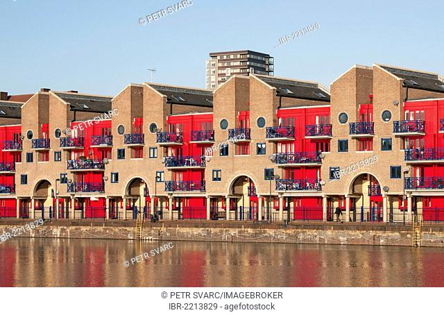 Shadwell Basin riverside apartments in Docklands, Wapping, East London, England, United Kingdom, Europe