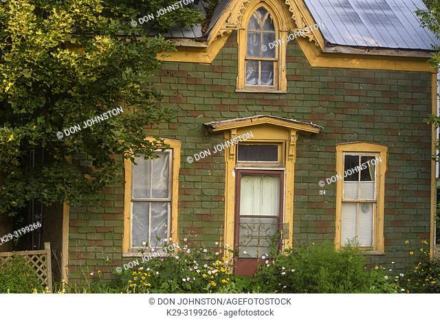 Summer flowers overgrowing an old house along mainstreet, Kirkton, Ontario, Canada