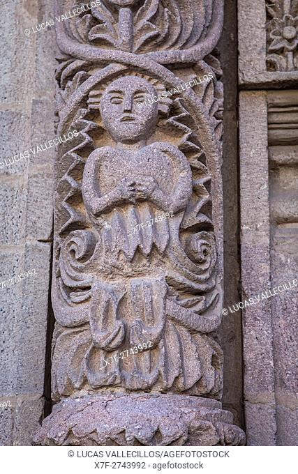 Detail, facade of Modesto Omiste theater, Potosi, Bolivia