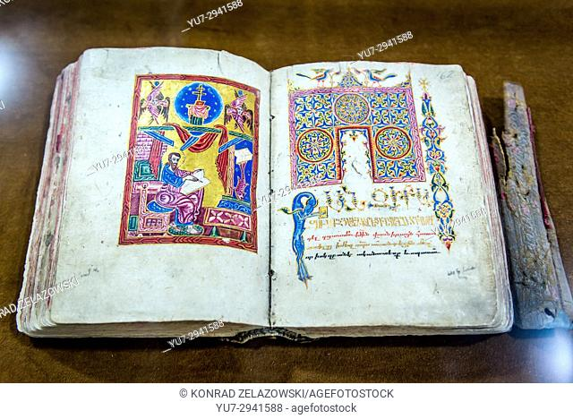 16th hand written and decorated gospel in museum of Aramenian Apostolic Holy Savior Cathedral (commonly known as Vank Cathedral) in Isfahan, Iran