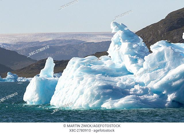 Icebergs drifting in the fjords of southern greenland. America, North America, Greenland, Denmark