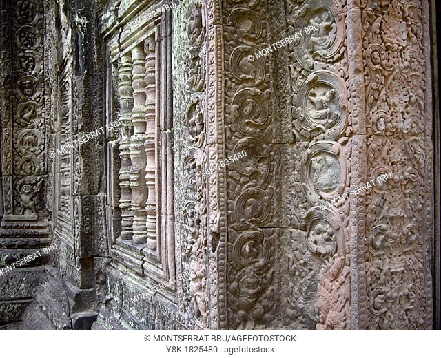 Stone carved reliefs of Stegosaurus and Dinosaurs at Angkor Ta Prohm temple in Cambodia