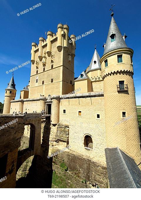 Main facade of the Alcazar of Segovia. Segovia. Spain