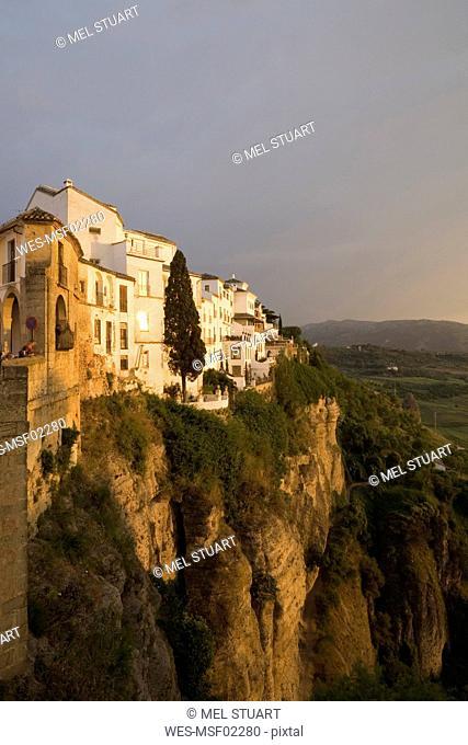 Spain, Ronda, Buildings on steep face