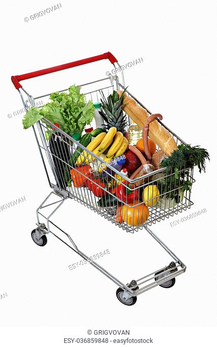 Filled with food shopping trolley isolated on white background, no body, no people, the path selection is saved