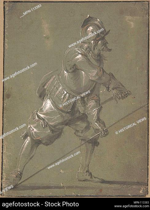 An Infantryman Drawing his Sword. Artist: Jacob Matthias Weyer (German, Hamburg 1620-1691 Hamburg); Date: 1640-91; Medium: Brush and gray and light brown wash