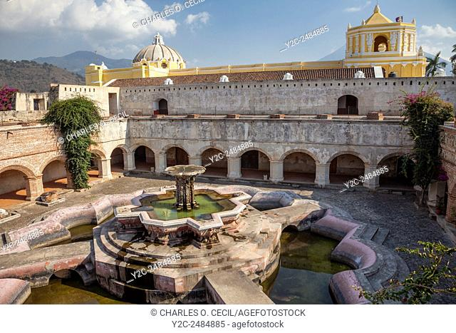 Antigua, Guatemala. Courtyard and Fountain (Fuente de Pescados) of La Merced Church. Fountain constructed 18th. century, restored 1944