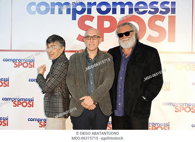 Italian director Francesco Miccichè and Italian actors Vincenzo Salemme and Diego Abatantuono attend the Compromessi sposi photocall at the Meridien Visconti...