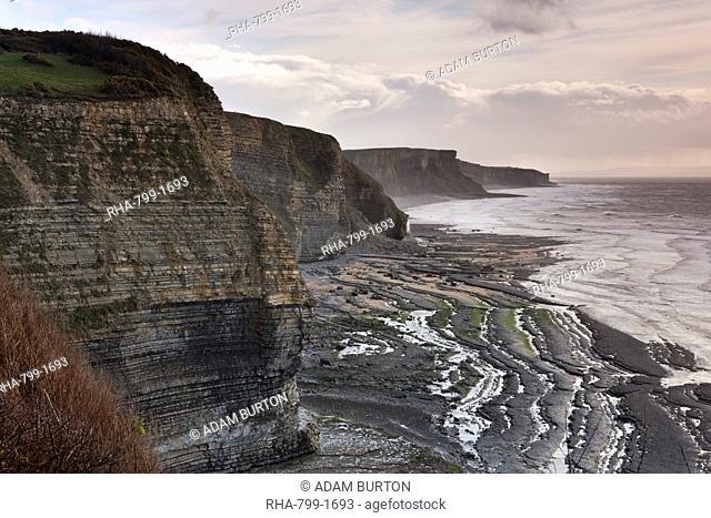 Dramatic cliffs along the Glamorgan Heritage Coast, Wales, United Kingdom, Europe