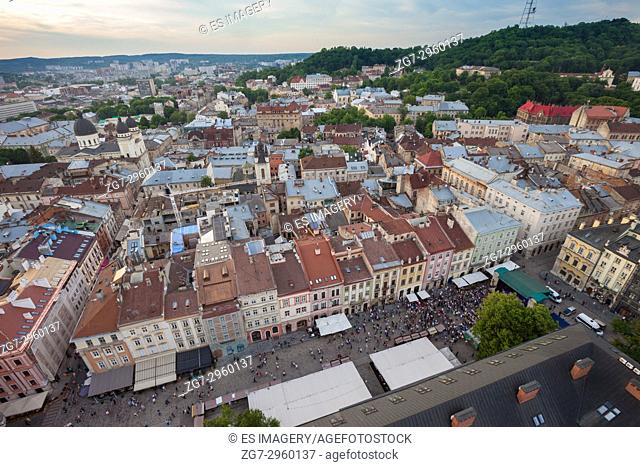 View over the old town of Lviv, Ukraine