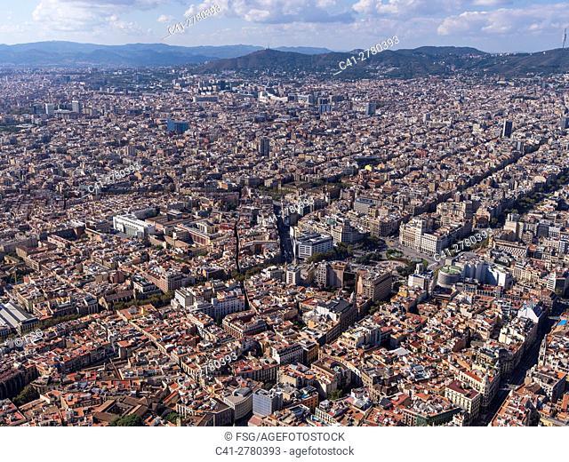 Aerial view of Ciutat Vella Quarter in Barcelona