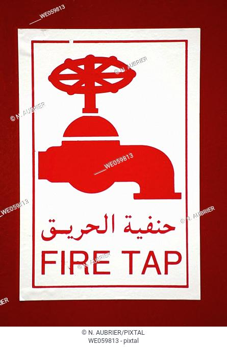 Anti fire equipment and signs in a hotel