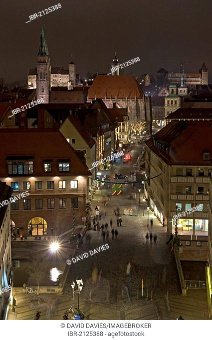 Night-time view over Nuremberg at Christmastime, Franconia, Bavaria, Germany, Europe