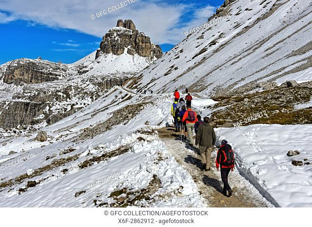Hikers on the snow-covered hiking trail of the Three Peaks Circular Walk in frotn of the Tower of Toblin, Torre di Toblin, Sesto Dolomites, South Tyrol