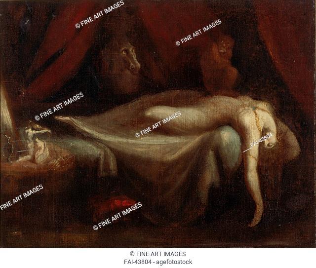 The Nightmare by Füssli (Fuseli), Johann Heinrich (1741-1825)/Oil on canvas/Classicism/1810/Schwitzerland/Private Collection/75x95/Mythology