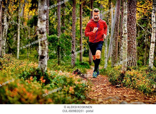 Man running in forest, Kesankitunturi, Lapland, Finland
