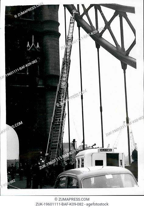 Nov. 11, 1960 - Sensation at tower bridge man says he is going to drive from top. There was a sensation at Tower Bridge this afternoon - when a man clibed form...