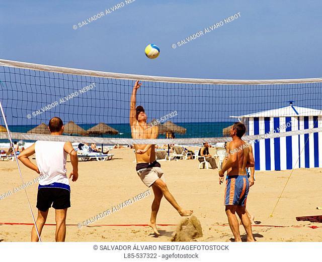 Beach volleyball. Playa de las Arenas, Valencia, Spain