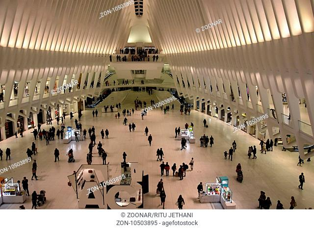 Inside the Oculus of the Westfield World Trade Center Transportation Hub in New York