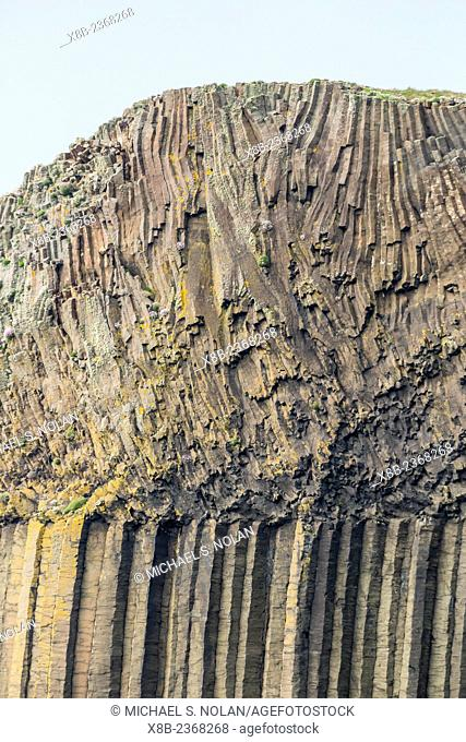 A view near Fingal's Cave with excellent views of columnar basalt, Staffa Island, western outer Hebrides, Scotland