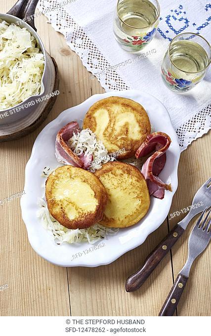 Potato dumplings with smoked pork and sauerkraut