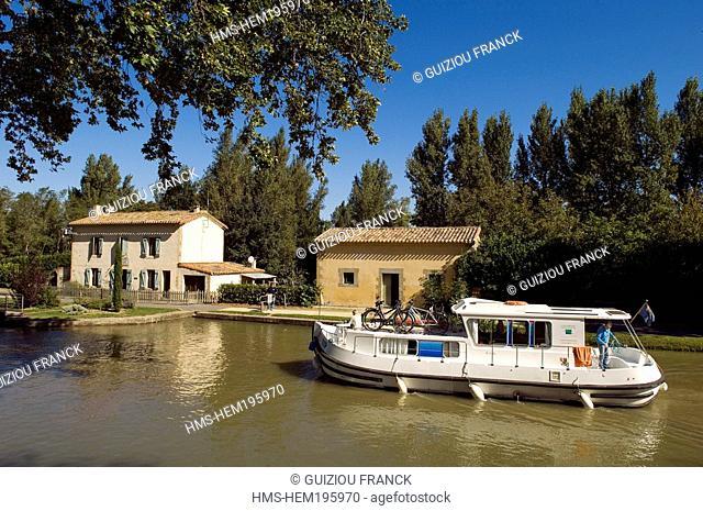 France, Haute Garonne, Emborrel lock on Canal du Midi listed as World Heritage by UNESCO