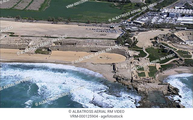 Aerial HD shot of the Amphitheater of ancient Cesarea