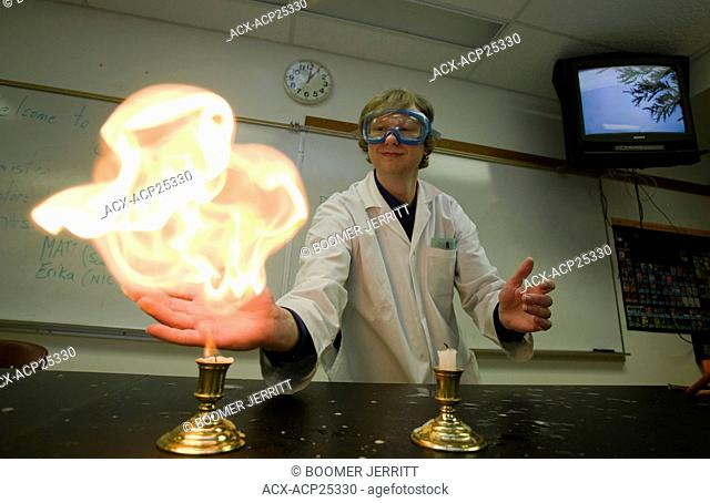 The 'flaming hands of death', a demonstration done with propane bubbles and flame, at North Island College's Campbell River campus