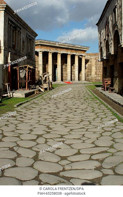 "The film set featuring buildings from ancient Rome, built for the TV series """"Rome"""", produced by HBO, BBC and RAI, at the Cinecitta film studio complex in Rome"
