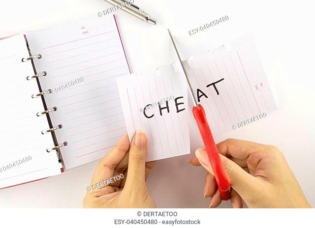 "Persons who were cutting paper labeled """"cheat"""""""""""