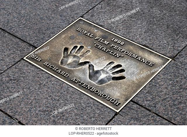 England, London, Leicester Square, Hand prints of Sir Richard Attenborough in the pavement