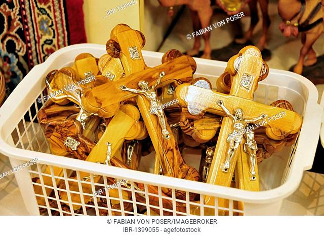 Wooden crosses in a shop in the souq, market, in the Old City of Jerusalem, Israel, Middle East, Orient