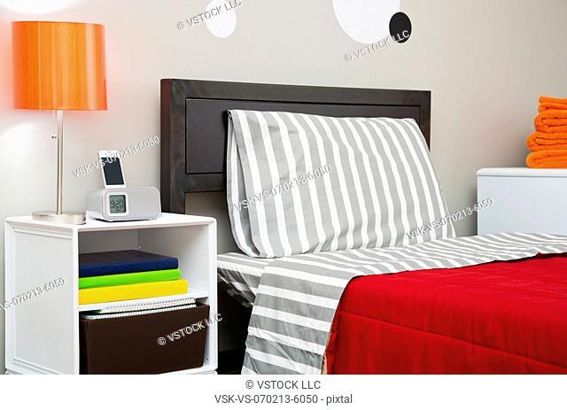 View of neat dorm room